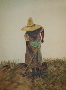 "Richard D.Burton: ""Woman In The Field"" (watercolor)"