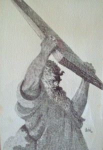 """Crosshatch Pen and Ink: """"Moses"""""""