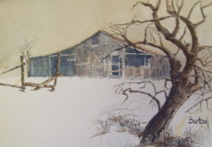 R.D. Burton: Knobby Tree (watercolor on paper)