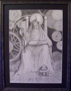 "Richard D. Burton: ""Grinding Gears of Time"" Graphite on Paper"