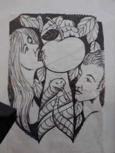 "Lynn Burton: Black and White sketch-""Adam and Eve"""