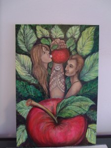 "Lynn Burton: ""Adam and Eve"" - oil on board"