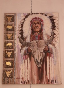 Lynn Burton: Chief and Skull (oil on Canvas)