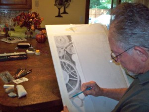 Artist, Richard D. Burton, working on Graphite Drawing: Grinding Gears of Time