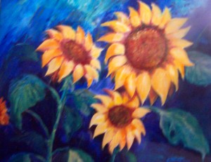 Lynn Burton: Posing Sunflowers (Oil on Canvass)