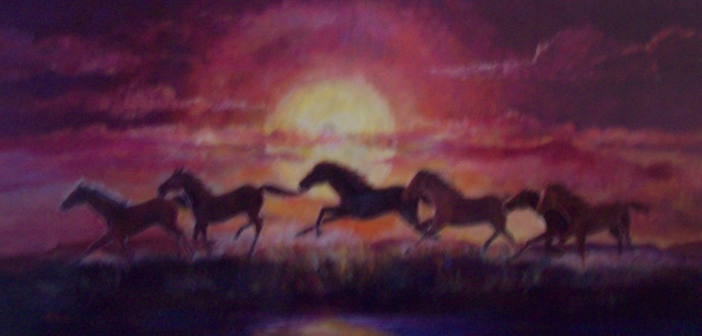 "Lynn Burton, ""The Red Sunset"" Oil on canvass (24x48)"