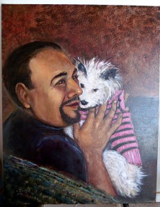 "Lynn Burton: ""Love That Dog"" oil on canvas"