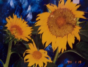 Lynn Burton: Sunflowers in Blue (oil on board)