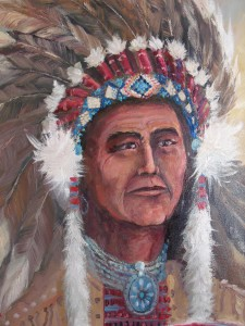 Lynn Burton: Indian Chief: Oil on Canvas