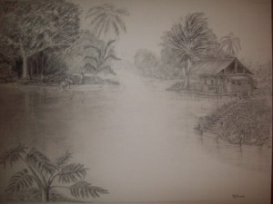 "R.D.Burton: Full size drawing of Glades Fishing(22""X3O"")"