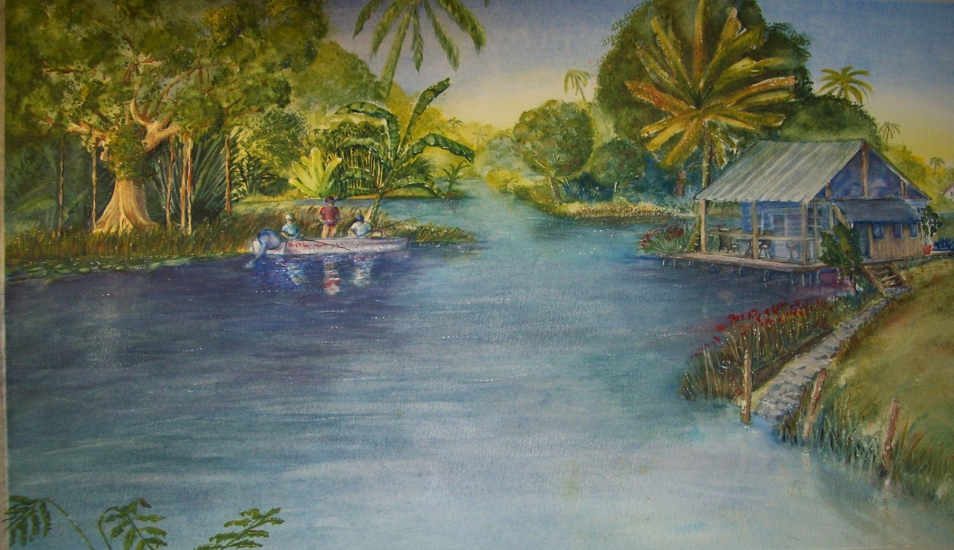 Finishing my latest watercolor painting fishing the for Fishing in the everglades