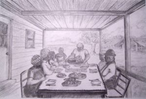 Graphite drawing panel for Graphic Novel